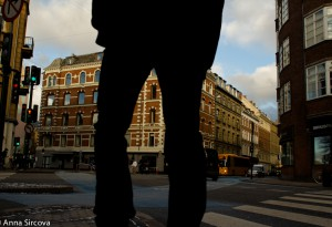 man&#039;s silhouette on a crosswalk in Copenhagen, Denmark