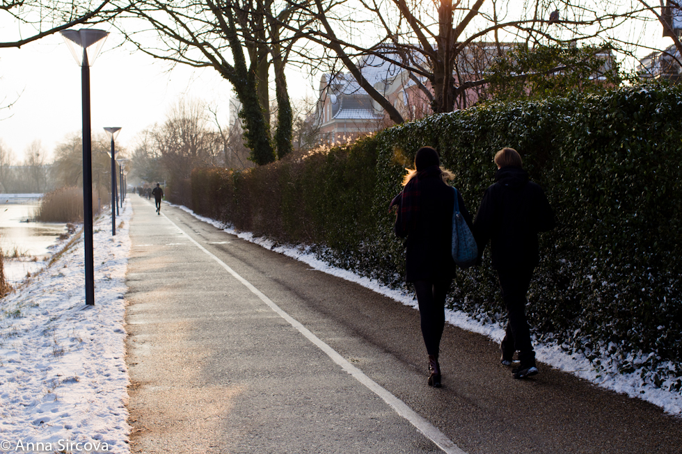 a couple walks hand in hand by the lakes in Copenhagen in the afternoon light