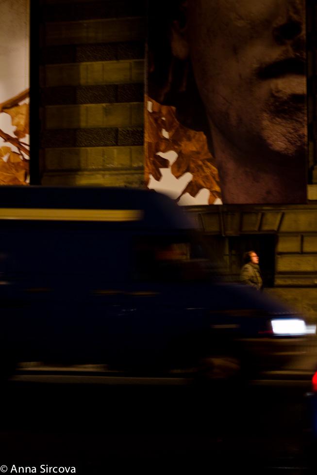 Paris night street Louvre
