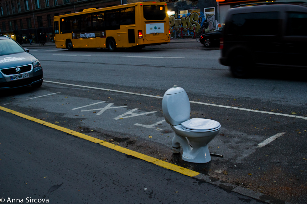 toilet in the taxi lane, Copenhagen streets