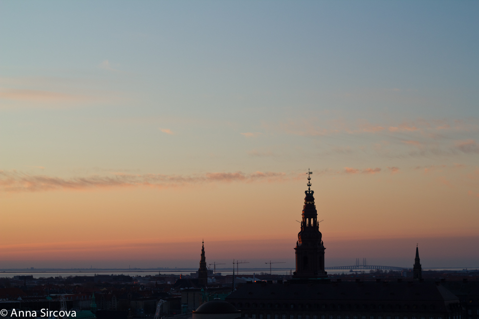 overview of Copenhagen towards the Baltic Sea with the bridge to Malmo, Sweden