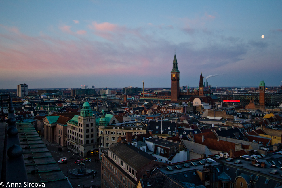 overview of Copenhagen towards City Hall side from the Københavns Domkirke